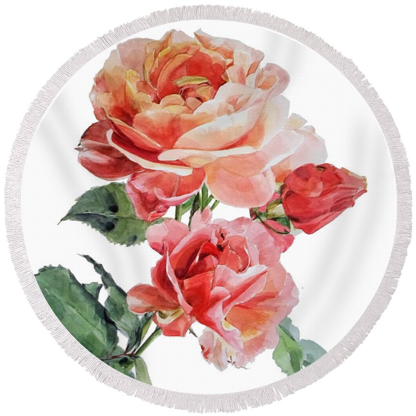 Watercolor Round Beach Towel featuring the painting Watercolor Of Red Roses On A Stem I Call Rose Maurice Corens by Greta Corens