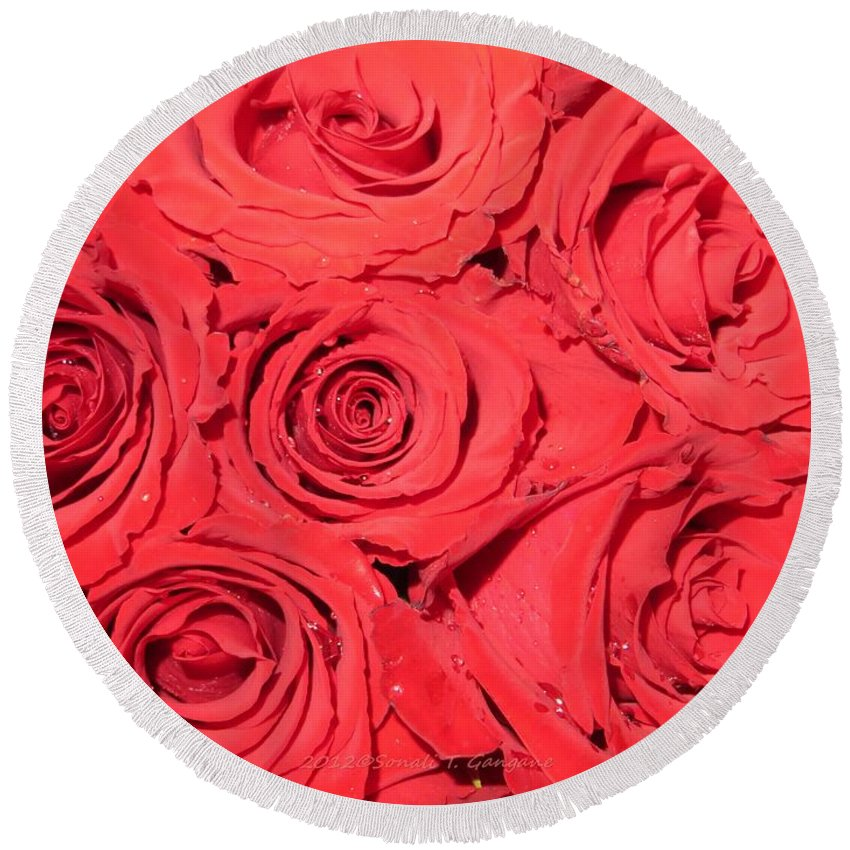 Roses For You Round Beach Towel featuring the photograph Rose Swirls by Sonali Gangane