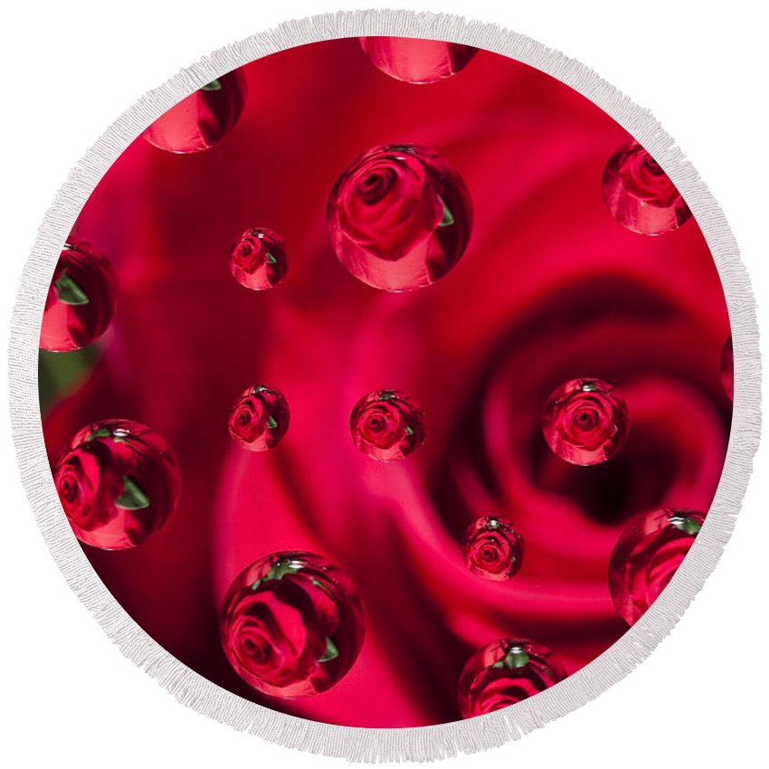Flower Round Beach Towel featuring the photograph Rose Syrup Abstract 1 A by John Brueske