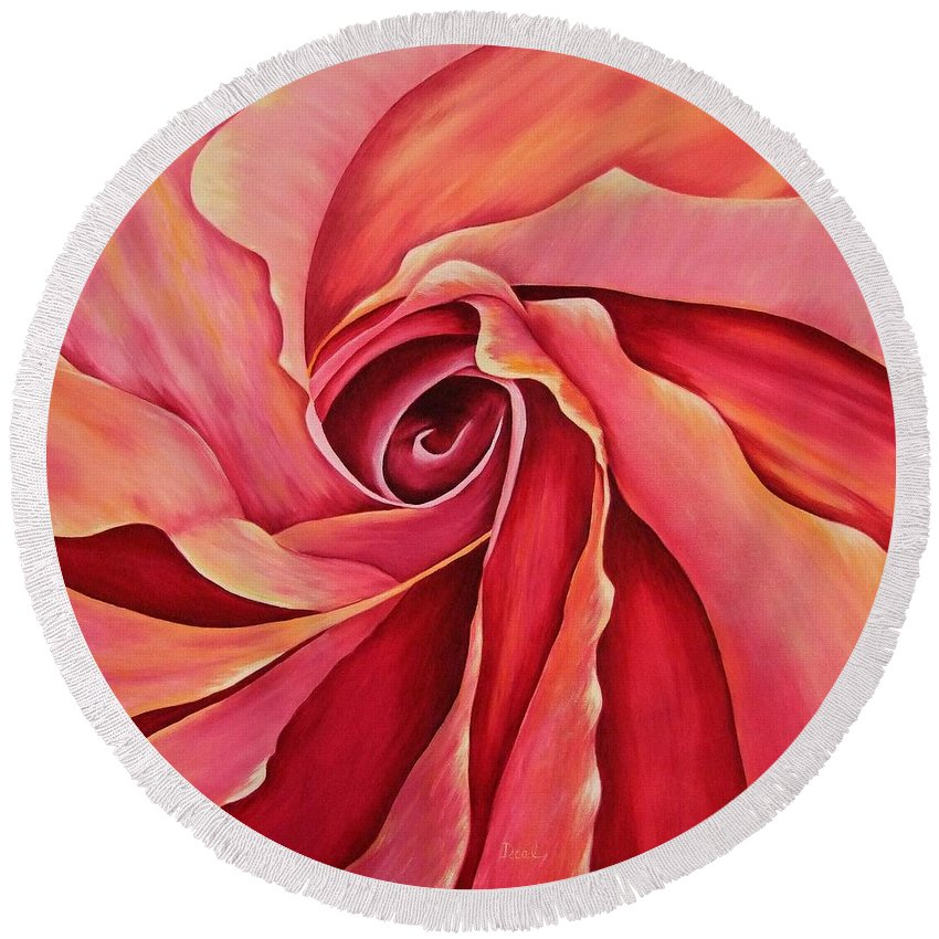 Red Flower Paintings Round Beach Towel featuring the painting Rosebud by Mary Deal