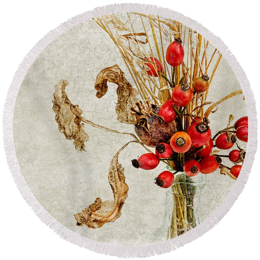 Rosehip Round Beach Towel featuring the photograph Rosehips And Grasses by Ann Garrett