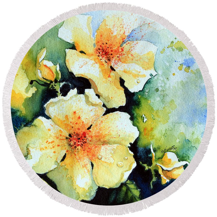 Rose Round Beach Towel featuring the painting Roses 2 by Hanne Lore Koehler
