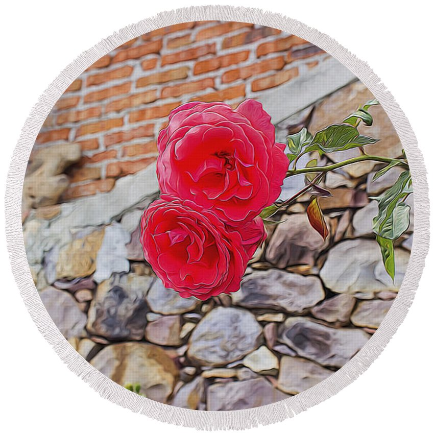 Round Beach Towel featuring the digital art Roses Against The Wall by Cathy Anderson