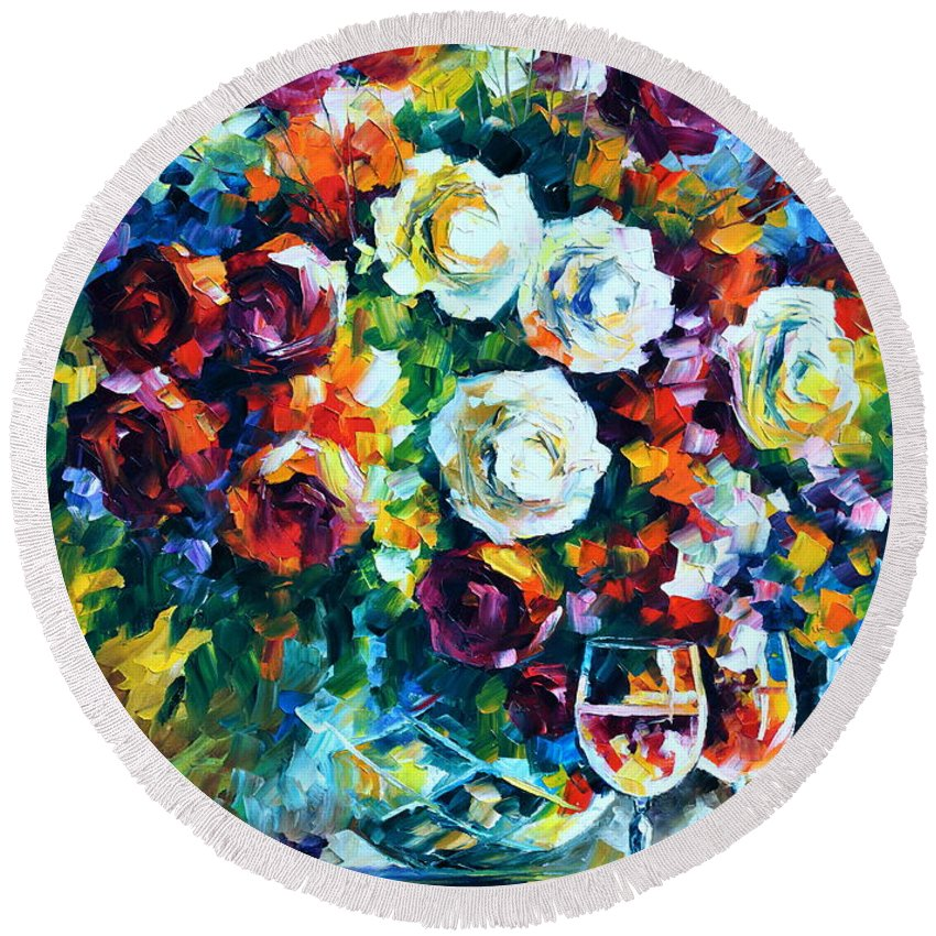 Afremov Round Beach Towel featuring the painting Roses And by Leonid Afremov