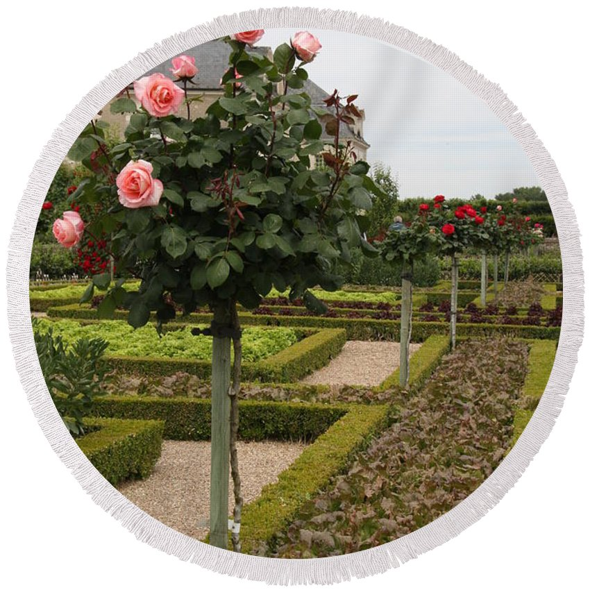 Roses Round Beach Towel featuring the photograph Roses And Salad - Chateau Villandry by Christiane Schulze Art And Photography