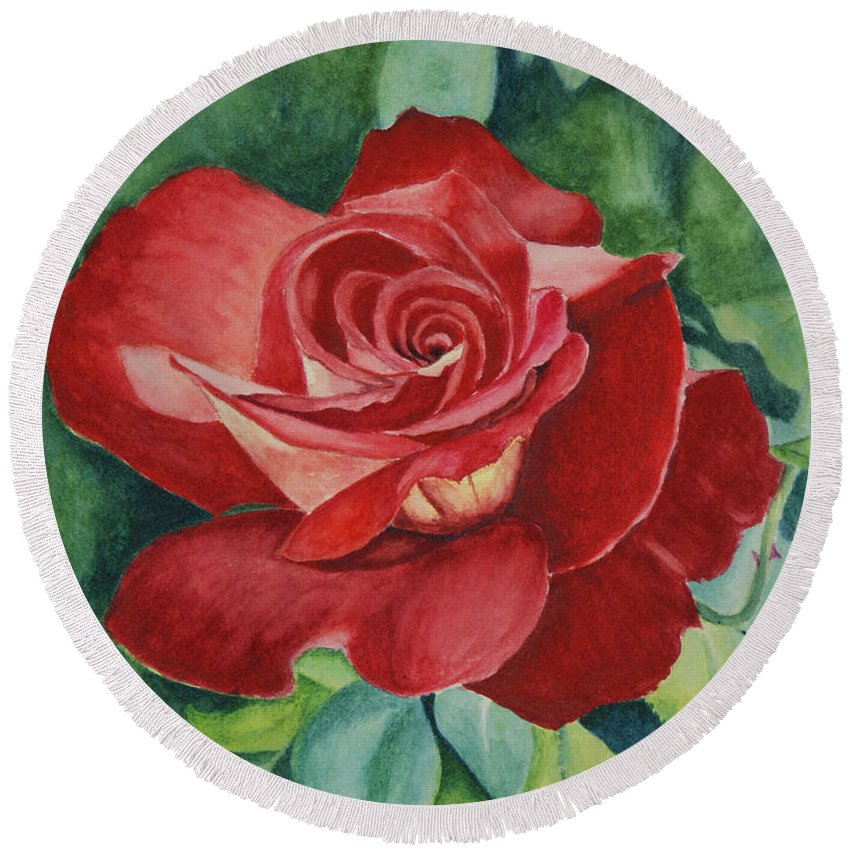 Floral Round Beach Towel featuring the painting Roses Are Red by Jill Ciccone Pike