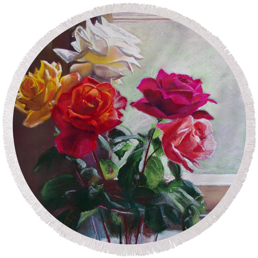 Lynda Robinson Round Beach Towel featuring the painting Roses By The Window by Lynda Robinson