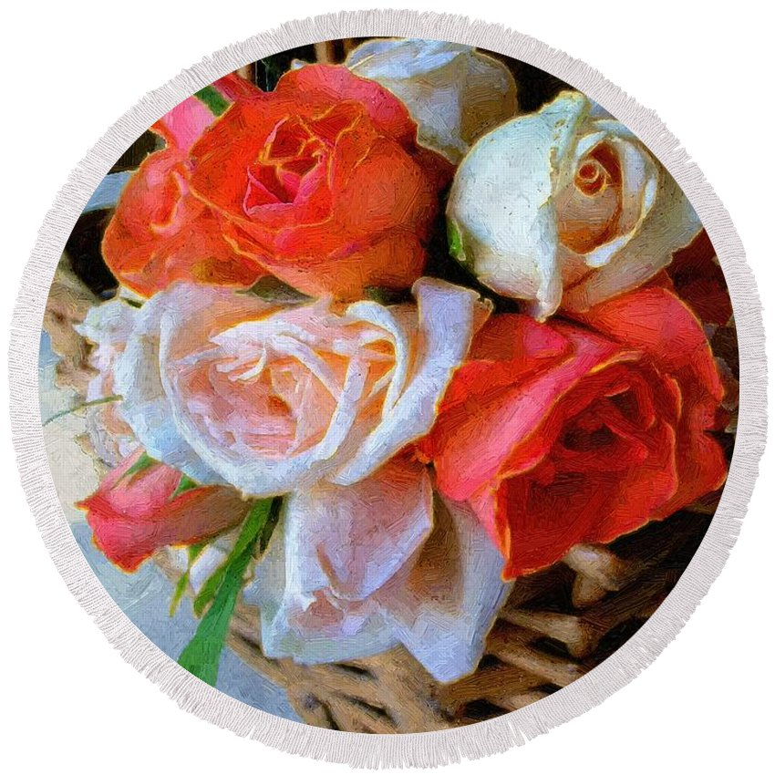 Still Life Round Beach Towel featuring the painting Roses Florentine by RC DeWinter