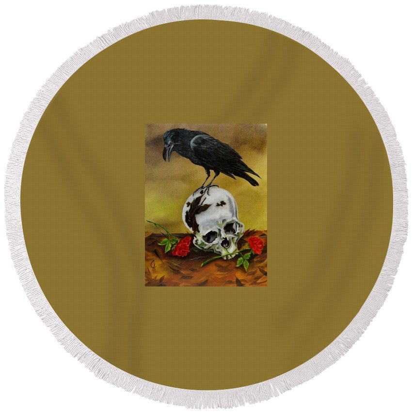 Raven Round Beach Towel featuring the painting Roses For My Master by Carol Avants