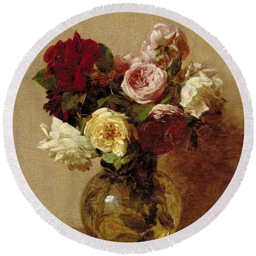 Still-life Round Beach Towel featuring the painting Roses by Ignace Henri Jean Fantin-Latour