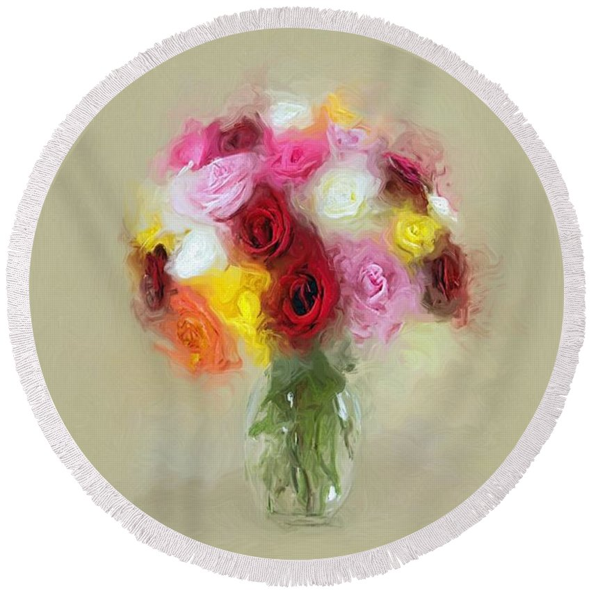 Roses Round Beach Towel featuring the painting Roses In A Vase 1 by Susanna Katherine