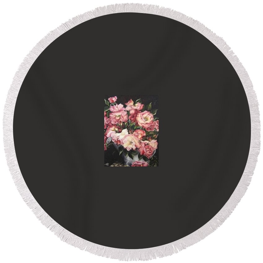 Pink Roses Floral Flowers Round Beach Towel featuring the painting Roses In A Watercan by Karin Dawn Kelshall- Best