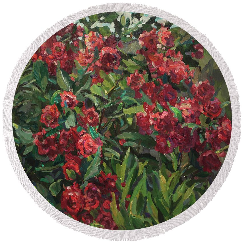 Roses Round Beach Towel featuring the painting Roses In The Mountains by Juliya Zhukova