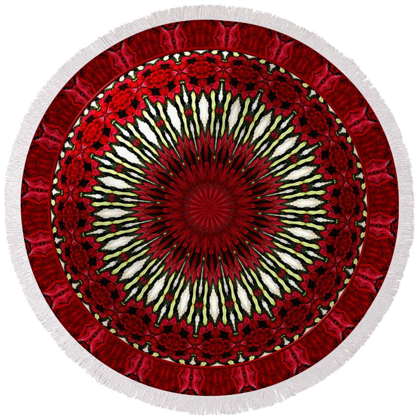 Red Roses Round Beach Towel featuring the photograph Roses Kaleidoscope Under Glass 18 by Rose Santuci-Sofranko