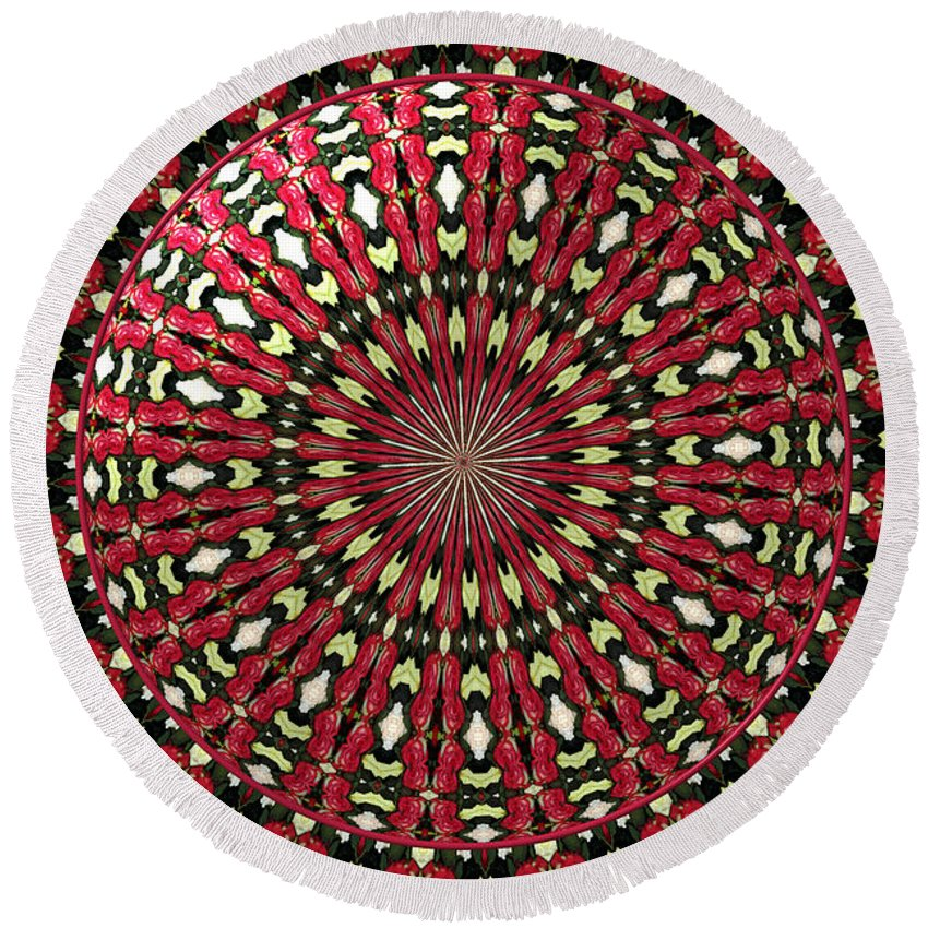 Red Roses Round Beach Towel featuring the photograph Roses Kaleidoscope Under Glass 21 by Rose Santuci-Sofranko
