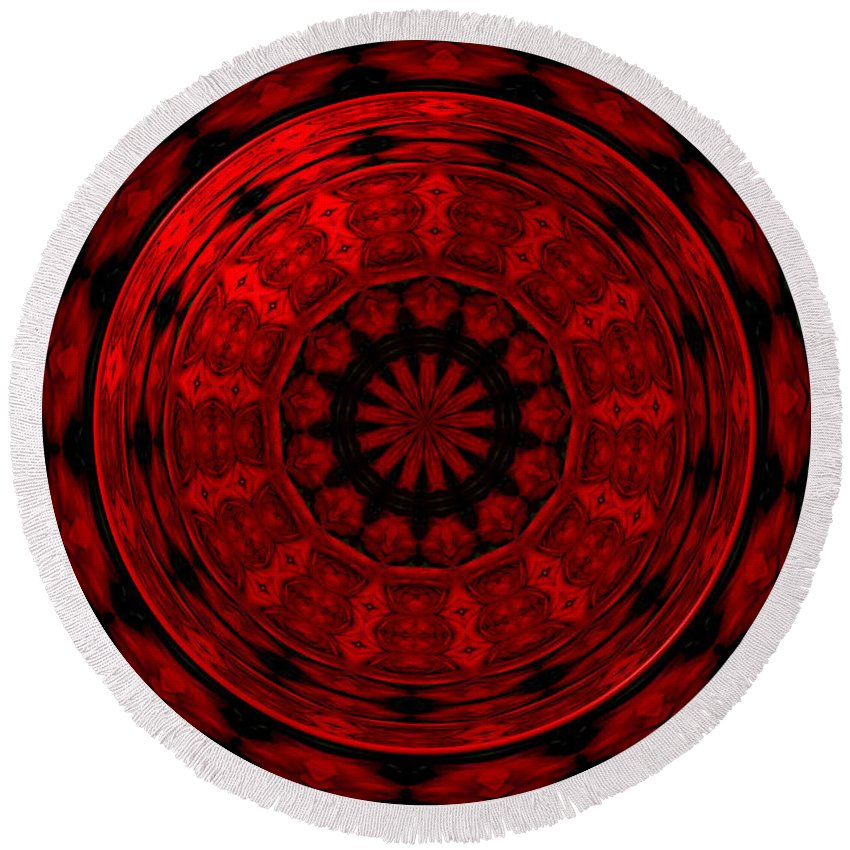 Red Roses Round Beach Towel featuring the photograph Roses Kaleidoscope Under Glass 22 by Rose Santuci-Sofranko