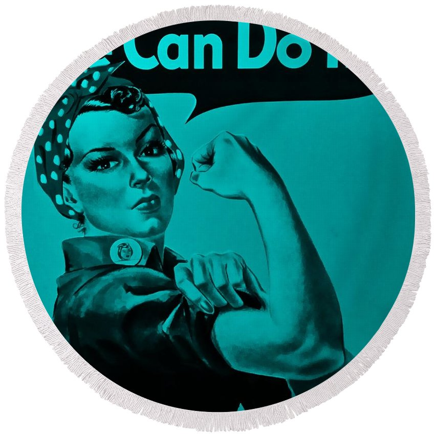 Rosie The Riveter Round Beach Towel featuring the photograph Rosie In Turquoise by Rob Hans