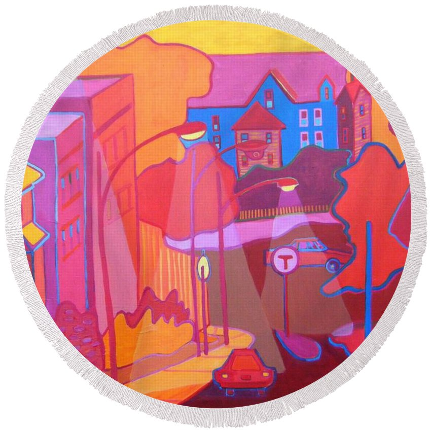 Cityscape Round Beach Towel featuring the painting Roslindale Never Looked so Red by Debra Bretton Robinson