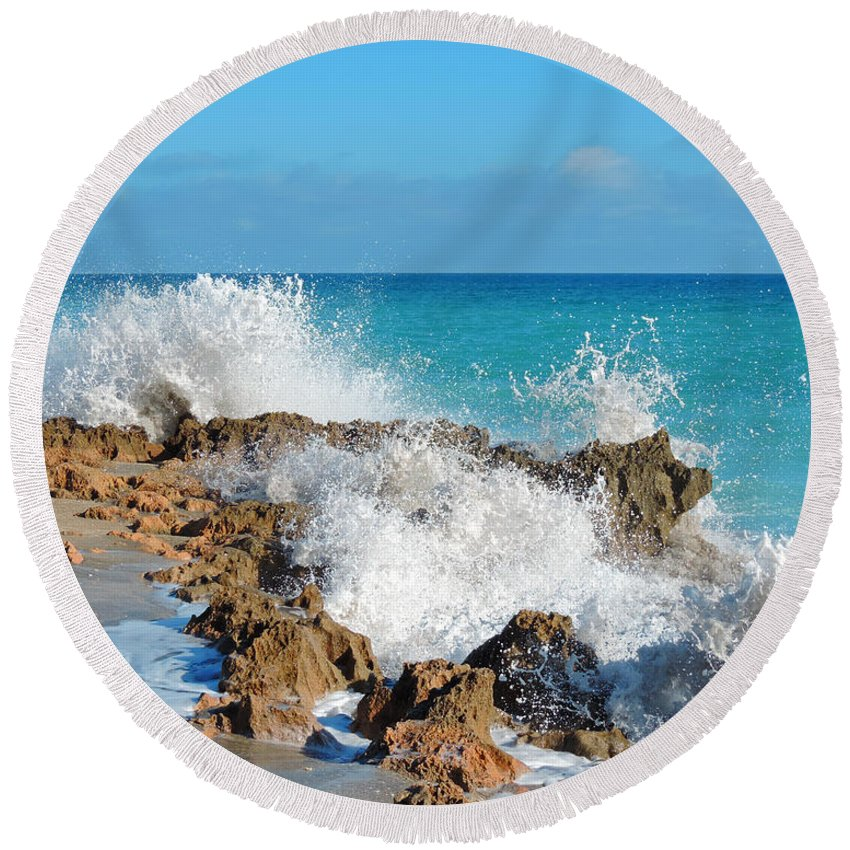Rocks Round Beach Towel featuring the photograph Ross Witham Beach 3 by Nancy L Marshall