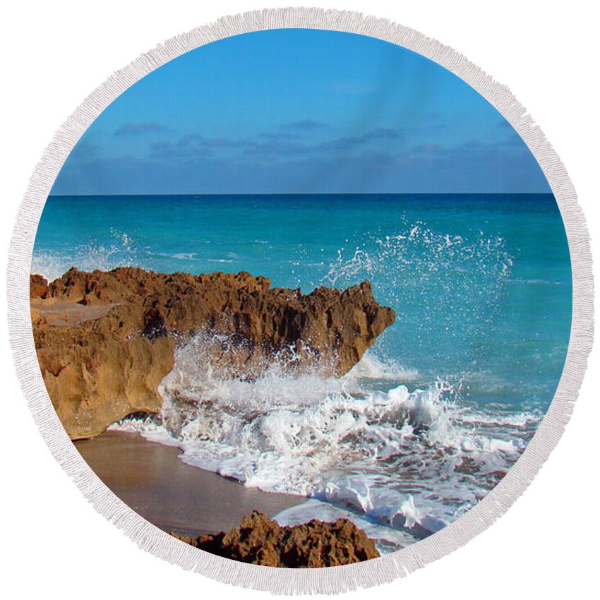 Rocks Round Beach Towel featuring the photograph Ross Witham Beach 4 by Nancy L Marshall