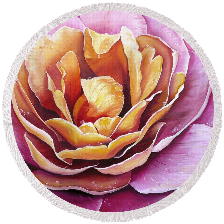Rose Painting Pink Yellow Floral Painting Flower Bloom Botanical Painting Botanical Painting Round Beach Towel featuring the painting Rosy Dew by Karin Dawn Kelshall- Best