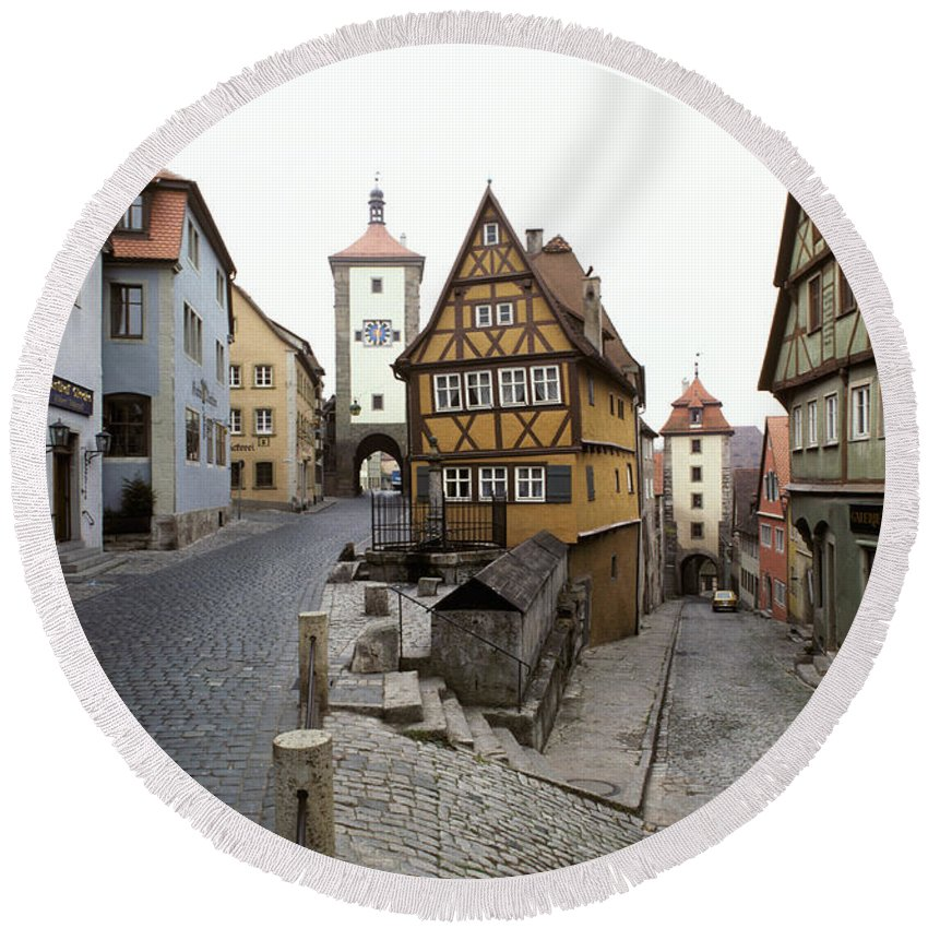 Architecture Round Beach Towel featuring the photograph Rothenberg, Germany by Ron Sanford