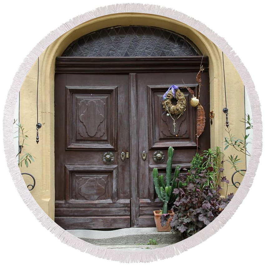 Village Round Beach Towel featuring the photograph Rothenburg Ob Der Tauber Door by Christiane Schulze Art And Photography