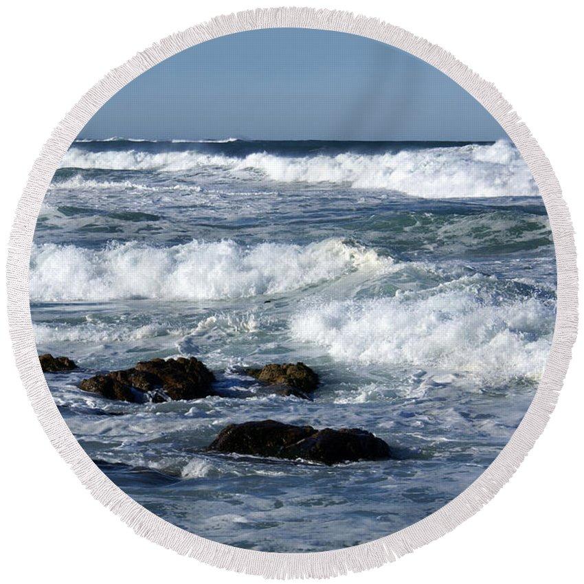 Barbara Snyder Round Beach Towel featuring the digital art Rough Seas by Barbara Snyder