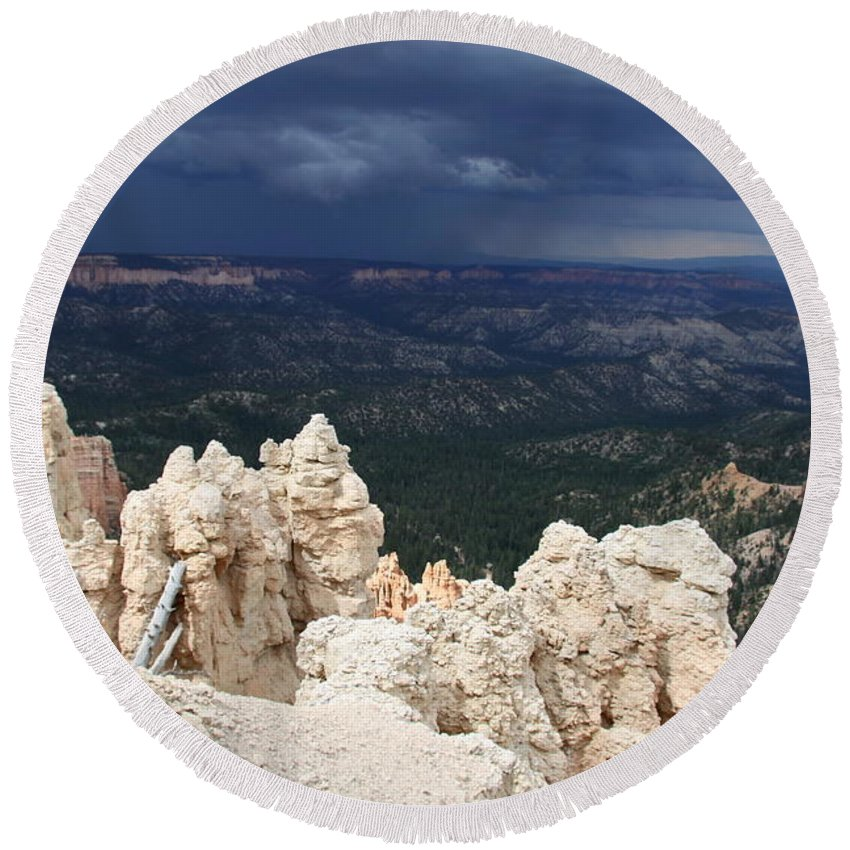 Bryce Canyon Round Beach Towel featuring the photograph Rough Skys Over Bryce Canyon by Christiane Schulze Art And Photography