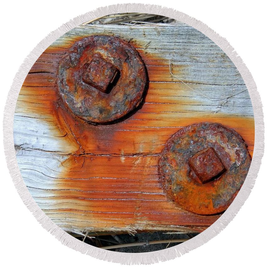 Beach Round Beach Towel featuring the photograph Round And Rusted by Ed Weidman