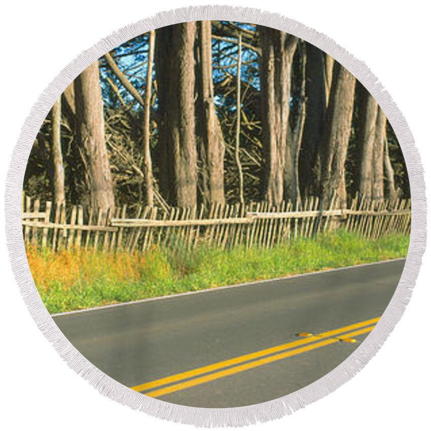 Photography Round Beach Towel featuring the photograph Route 1, Mendocino, California by Panoramic Images