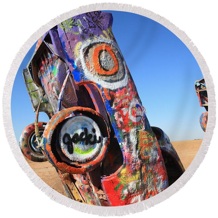 66 Round Beach Towel featuring the photograph Route 66 Cadillac Ranch by Frank Romeo