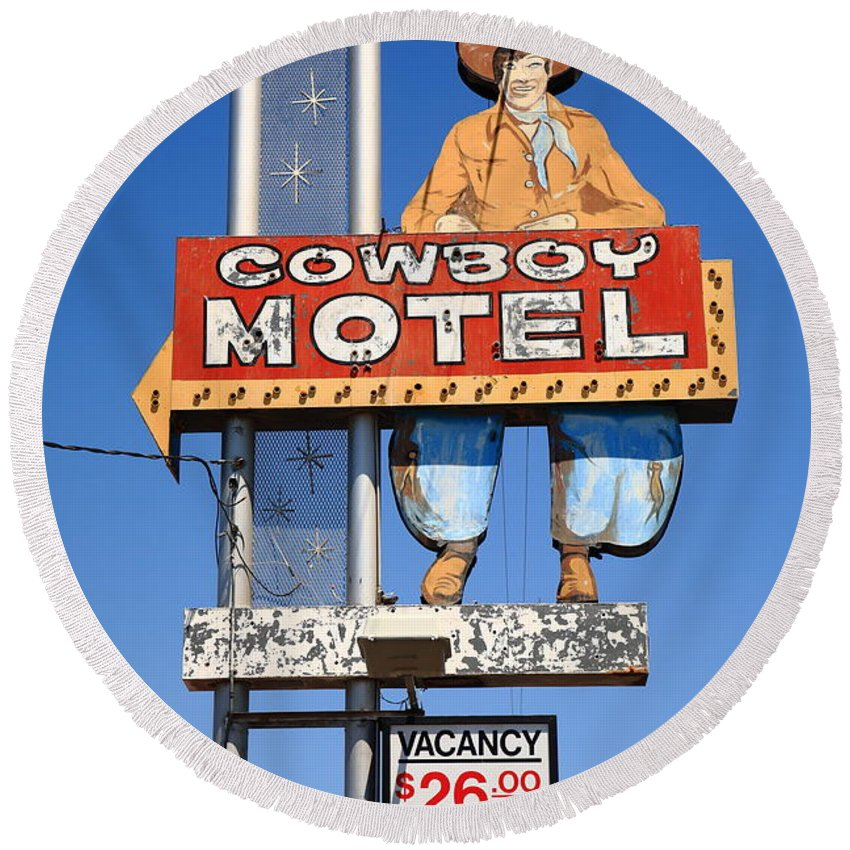 66 Round Beach Towel featuring the photograph Route 66 - Cowboy Motel 2012 by Frank Romeo