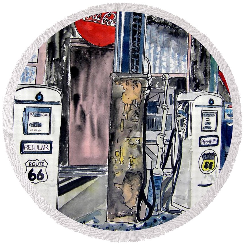 Watercolor Round Beach Towel featuring the painting Route 66 gas station by Derek Mccrea