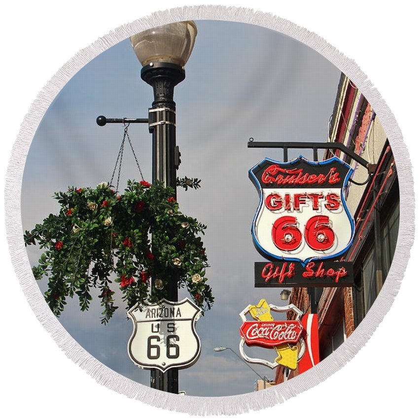 Route 66 Round Beach Towel featuring the photograph Route 66 In Williams Arizona by Denise Mazzocco