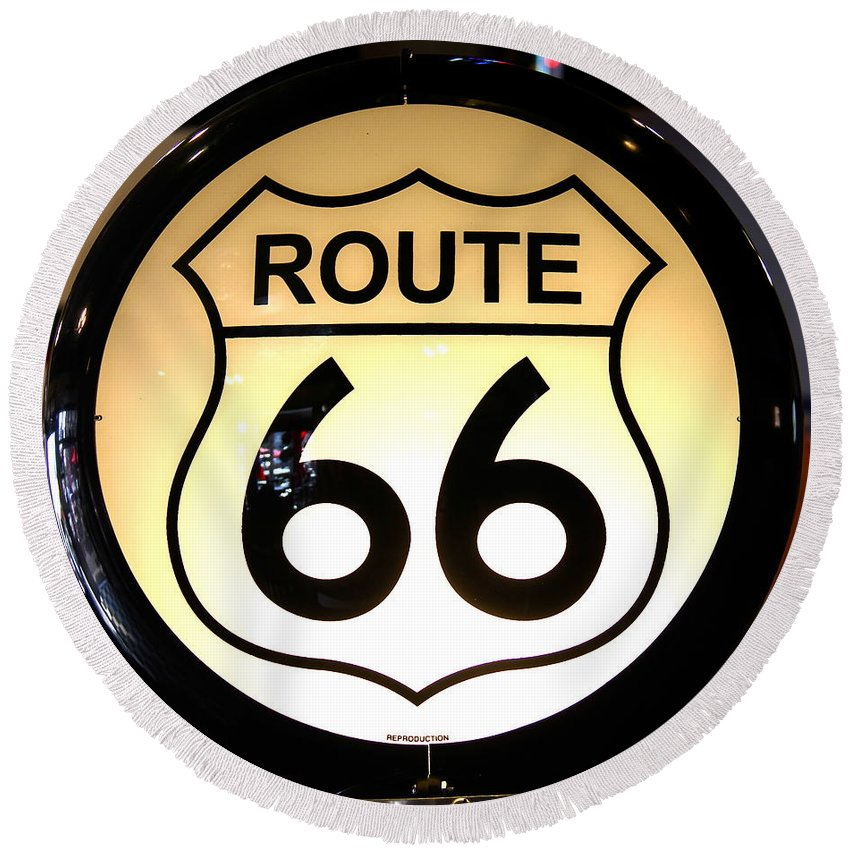 Route 66 Round Beach Towel featuring the photograph Route 66 Lighted Sign by Denise Mazzocco
