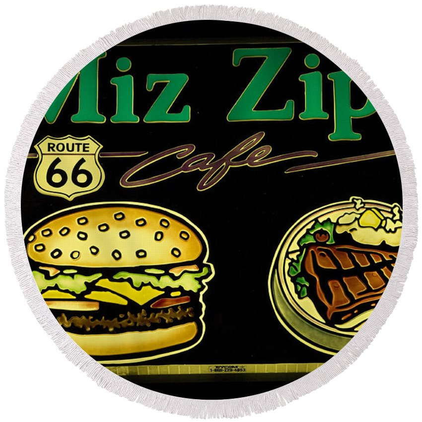 Classic Car Round Beach Towel featuring the photograph Route 66 Miz Zips by Bob Christopher