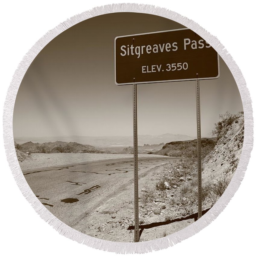 66 Round Beach Towel featuring the photograph Route 66 - Sitgreaves Pass by Frank Romeo