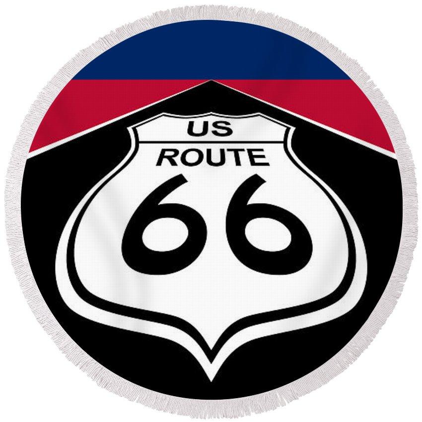 Route 66 Round Beach Towel featuring the digital art Route 66 - U. S. by Carlos Vieira