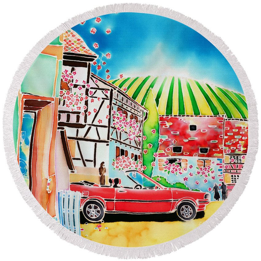 Alsace Round Beach Towel featuring the painting Route Des Vins by Hisayo Ohta