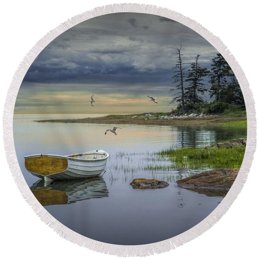 Evening Round Beach Towel featuring the photograph Row Boat By Mount Desert Island by Randall Nyhof