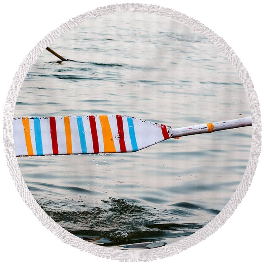 Row Round Beach Towel featuring the photograph Rowing Oar by Gaurav Singh
