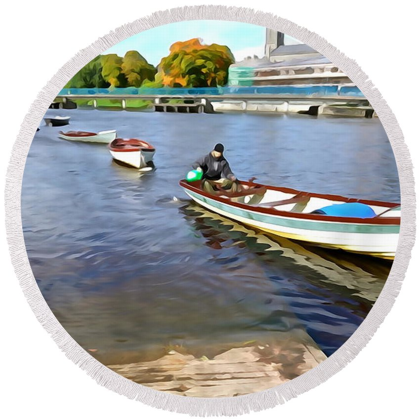 Boat Round Beach Towel featuring the photograph Rowing On The River - Irish Art By Charlie Brock by Charlie Brock