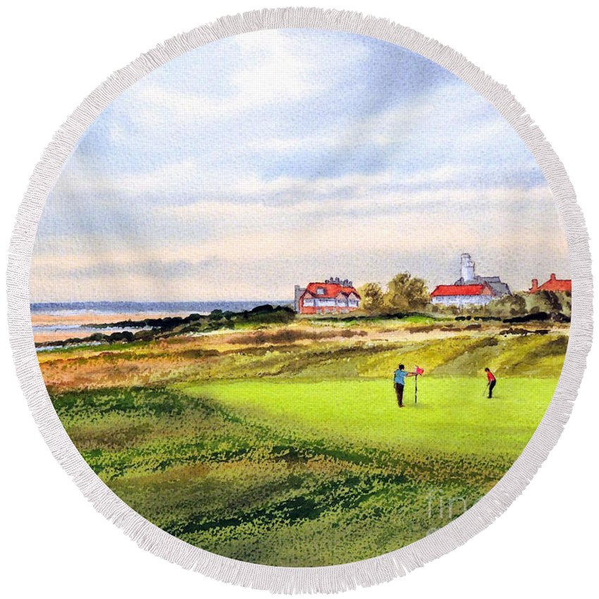 Golf Round Beach Towel featuring the painting Royal Liverpool Golf Course Hoylake by Bill Holkham