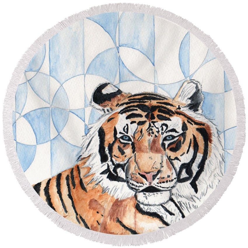 Tiger Round Beach Towel featuring the painting Royal Mysticism by Crystal Hubbard