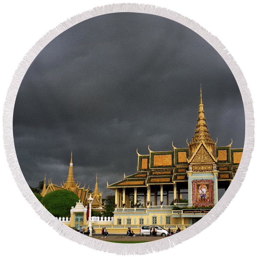 Khmer Round Beach Towel featuring the photograph Royal Palace Cambodia by Shaun Higson