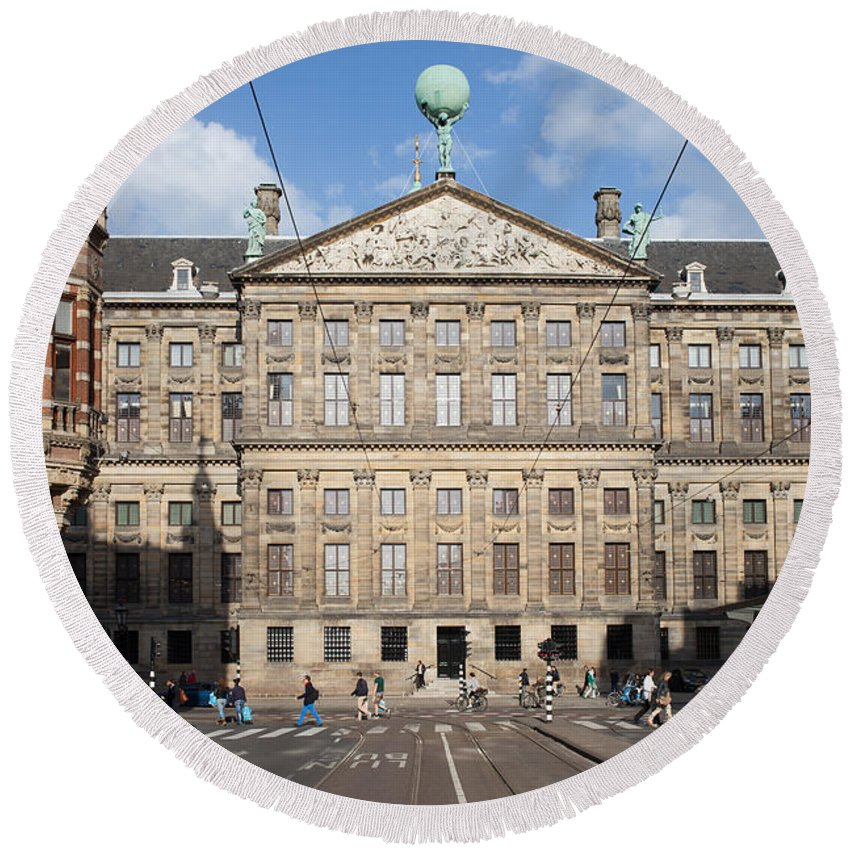 Royal Round Beach Towel featuring the photograph Royal Palace From Raadhuisstraat Street In Amsterdam by Artur Bogacki