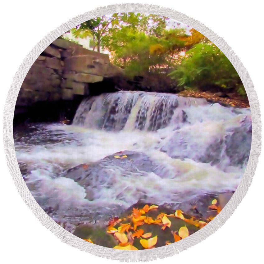 Royal River Round Beach Towel featuring the photograph Royal River White Waterfall by Elizabeth Dow