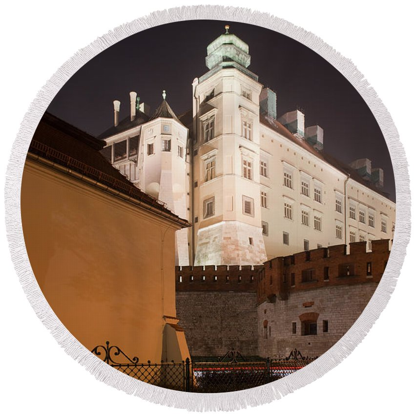 Wawel Round Beach Towel featuring the photograph Royal Wawel Castle By Night In Krakow by Artur Bogacki