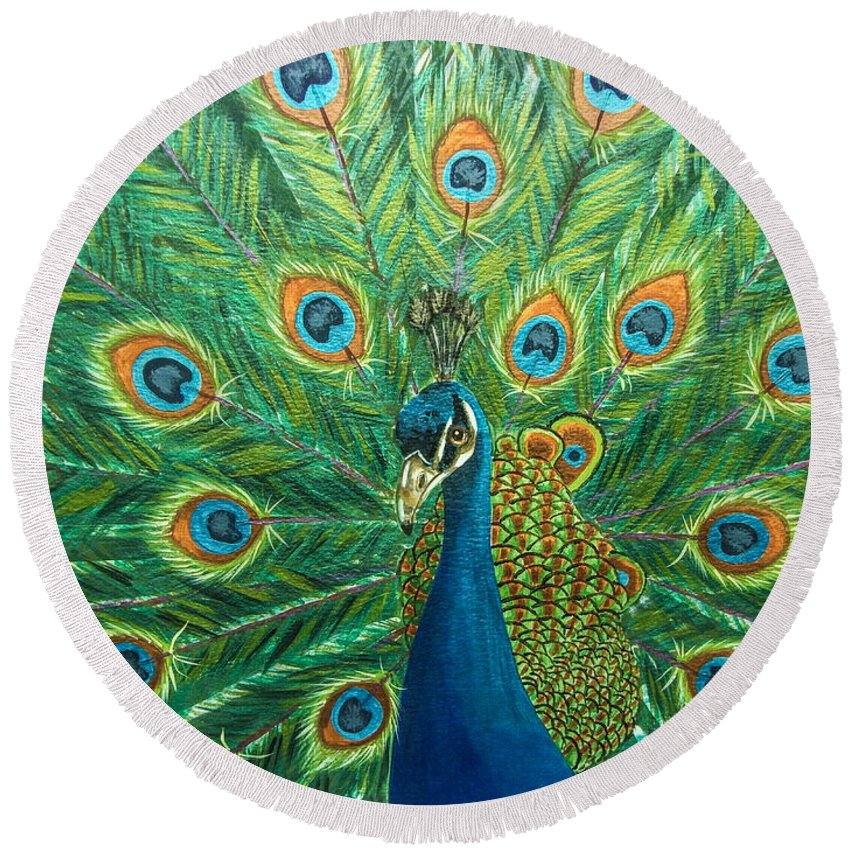Bird. Peacock. Regal. Nature. Wildlife. Fine Art. Round Beach Towel featuring the painting Royalty by Dawn Siegler